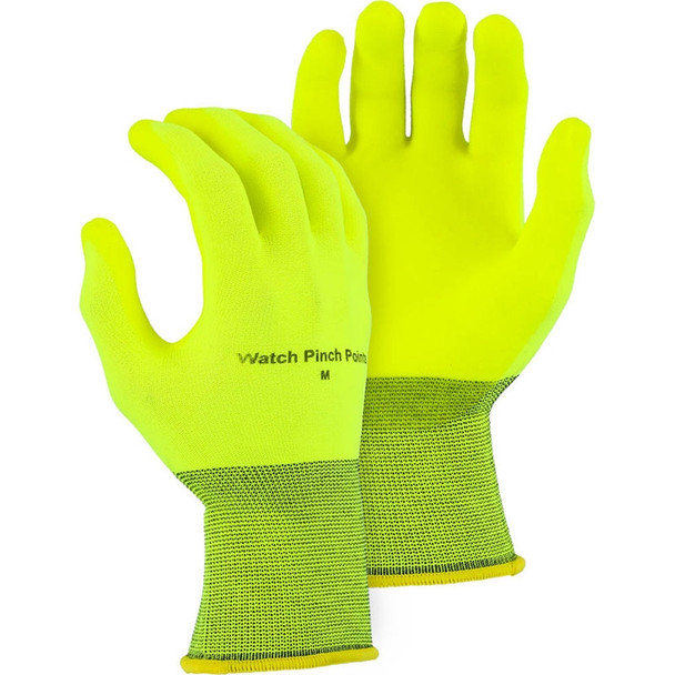 Majestic Box of 12 Pair Hi Vis Yellow SuperDex Crinkle Finish Gloves 3368HVY