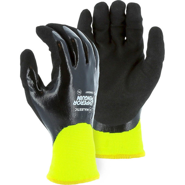 Majestic Box of 12 Pair Hi Vis Yellow Emperor Penguin Winter Gloves with Nitrile Drip Palm 3398DNY
