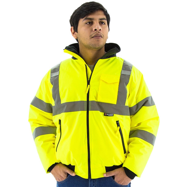 Majestic Class 3 Hi Vis Yellow Waterproof Bomber Safety Jacket 75-1300