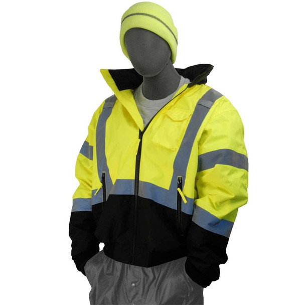 Majestic Class 3 High Visibility Yellow Black Bottom Bomber Jacket 75-1311