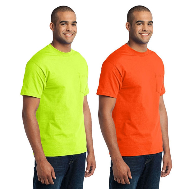 Port and Company Enhanced Visibility T-Shirt With Pocket PC55P
