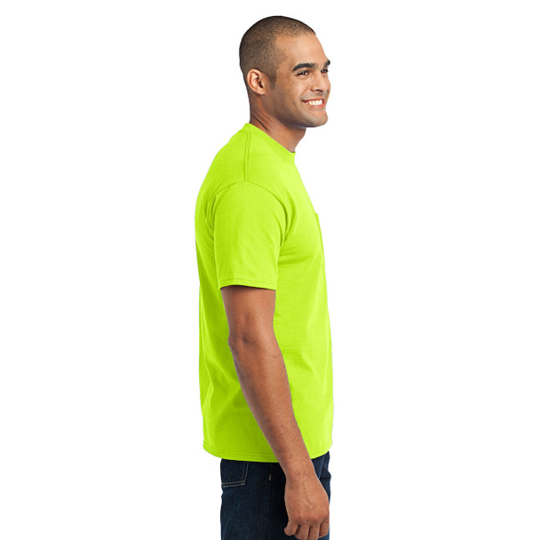 Port and Company Enhanced Visibility T-Shirt With Pocket PC55P Safety Green Right Side
