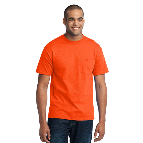 Port and Company Enhanced Visibility T-Shirt With Pocket PC55P Safety Orange Front