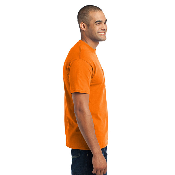 Port and Company Enhanced Visibility T-Shirt With Pocket PC55P Safety Orange Right Side
