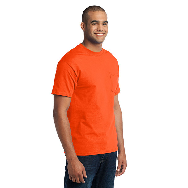 Port and Company Enhanced Visibility T-Shirt With Pocket PC55P Safety Orange Side