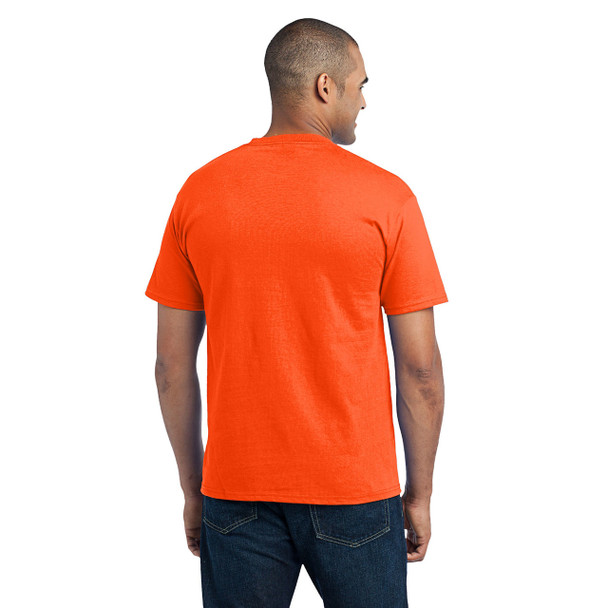 Port and Company Enhanced Visibility T-Shirt With Pocket PC55P Safety Orange Back