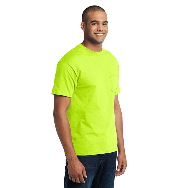 Port and Company Enhanced Visibility T-Shirt With Pocket PC55P Safety Green Side
