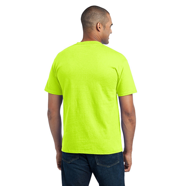 Port and Company Enhanced Visibility T-Shirt With Pocket PC55P Safety Green Back