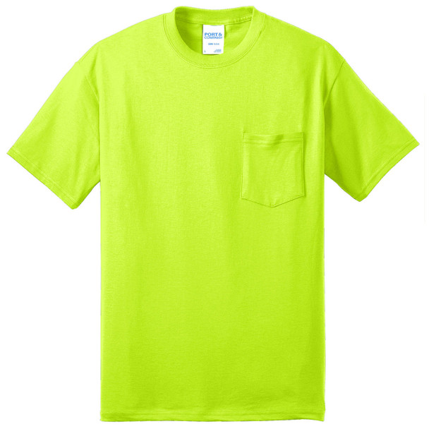 Port and Company Enhanced Visibility T-Shirt With Pocket PC55P Safety Green