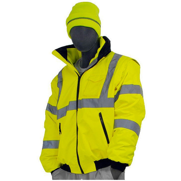 Majestic Class 3 Hi Vis Yellow 8 in 1 Bomber Safety Jacket Vest Combination Transformer 75-1381