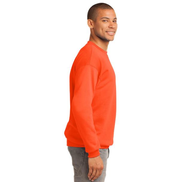 Port and Company Enhanced Visibility Crewneck Sweatshirt PC90 Safety Orange Right Side