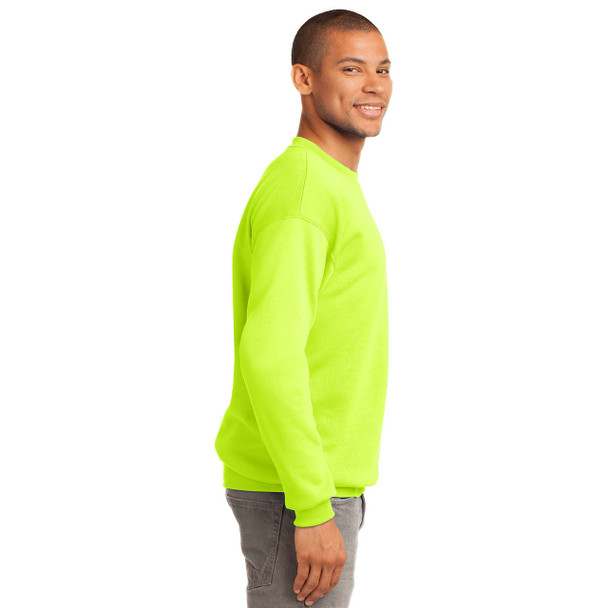 Port and Company Enhanced Visibility Crewneck Sweatshirt PC90 Safety Green Right Side