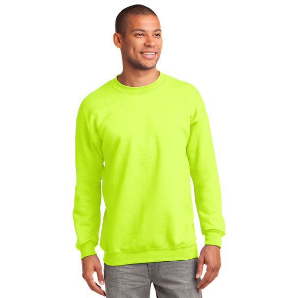 Port and Company Enhanced Visibility Crewneck Sweatshirt PC90 Safety Green Front