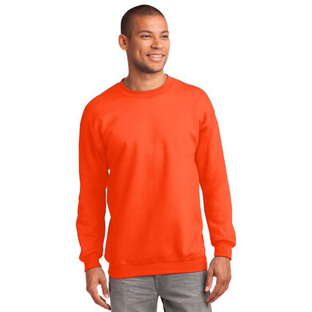 Port and Company Enhanced Visibility Crewneck Sweatshirt PC90 Safety Orange Front