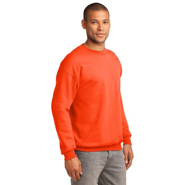 Port and Company Enhanced Visibility Crewneck Sweatshirt PC90 Safety Orange Side