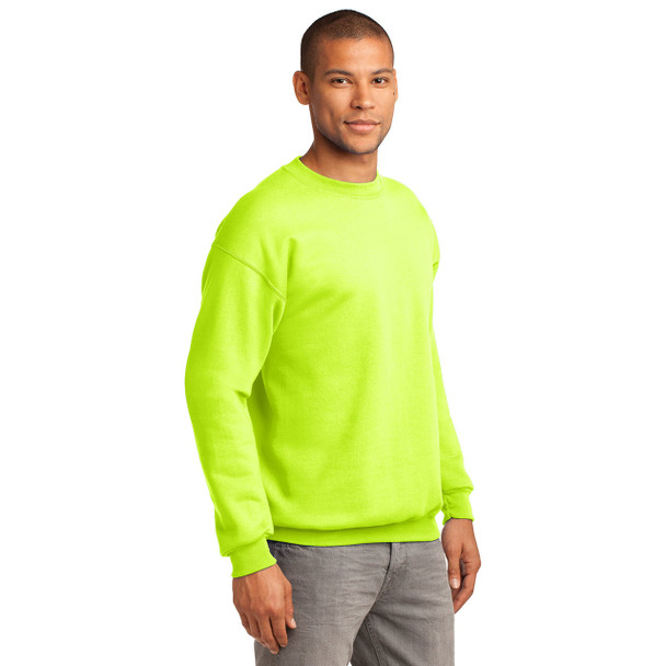 Port and Company Enhanced Visibility Crewneck Sweatshirt PC90 Safety Green Side
