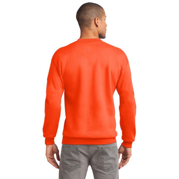Port and Company Enhanced Visibility Crewneck Sweatshirt PC90 Safety Orange Back