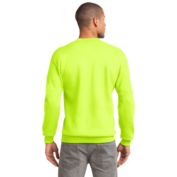 Port and Company Enhanced Visibility Crewneck Sweatshirt PC90 Safety Green Back