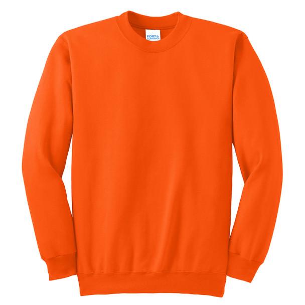 Port and Company Enhanced Visibility Crewneck Sweatshirt PC90 Safety Orange/Front