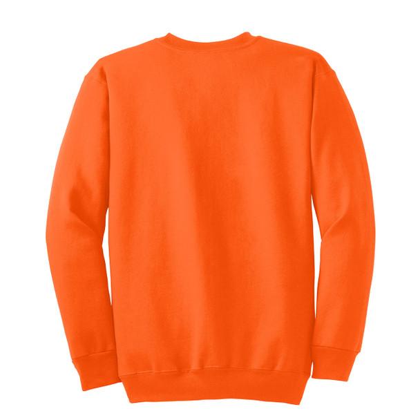 Port and Company Enhanced Visibility Crewneck Sweatshirt PC90 Safety Orange/Back