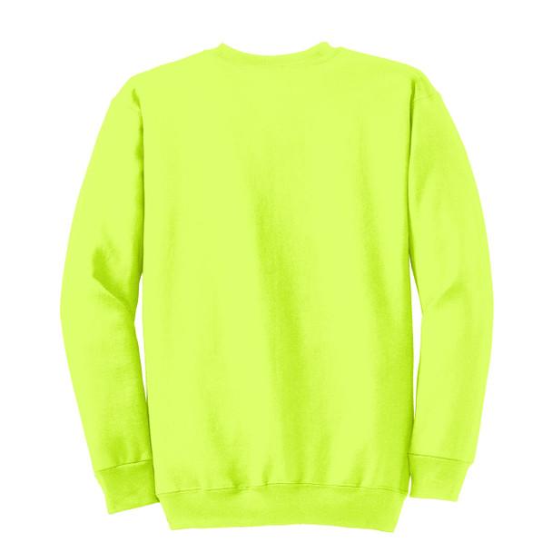 Port and Company Enhanced Visibility Crewneck Sweatshirt PC90 Safety Green/Back