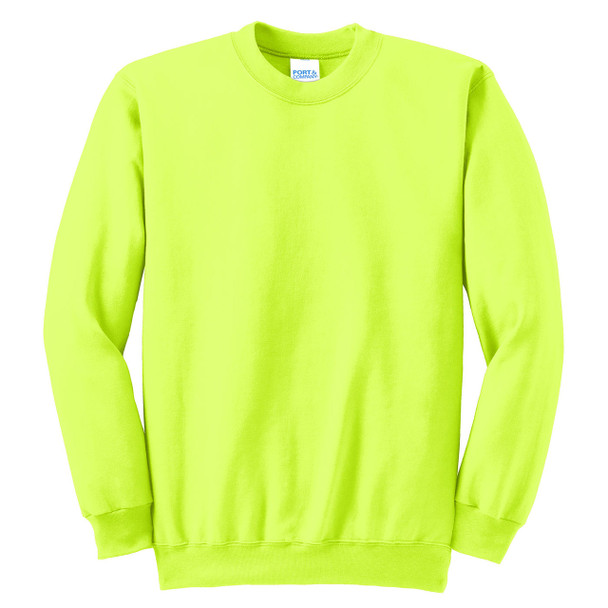 Port and Company Enhanced Visibility Crewneck Sweatshirt PC90 Safety Green/Front