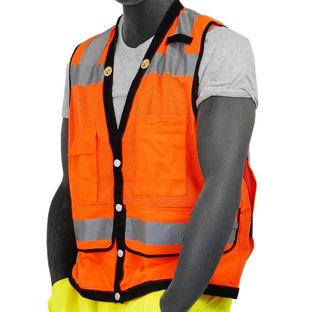 Majestic Class 2 Hi Vis Orange Heavy Duty Mesh Construction Safety Vest 75-3208