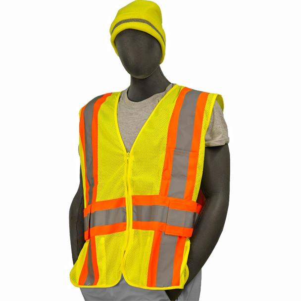 Majestic Class 2 Hi Vis Adjustable Yellow Zipper Front Mesh Safety Vest 75-3215