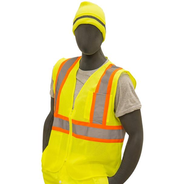 Majestic Class 2 Hi Vis Yellow DOT Striping Safety Vest 75-3217