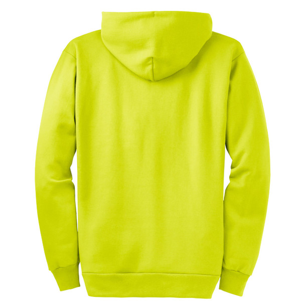 Port and Company Enhanced Visibility Hooded Zip Up Sweatshirt PC90ZH Safety Green/Back