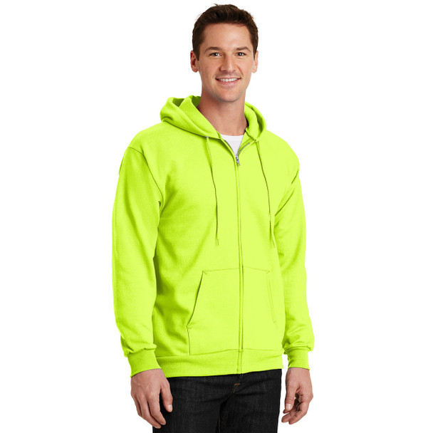 Port and Company Enhanced Visibility Hooded Zip Up Sweatshirt PC90ZH Safety Green Side