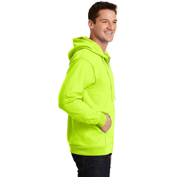 Port and Company Enhanced Visibility Hooded Zip Up Sweatshirt PC90ZH Safety Green Right Side