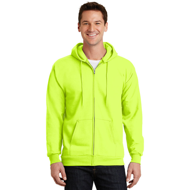 Port and Company Enhanced Visibility Hooded Zip Up Sweatshirt PC90ZH Safety Green Front