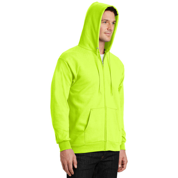 Port and Company Enhanced Visibility Hooded Zip Up Sweatshirt PC90ZH Safety Green with Hood