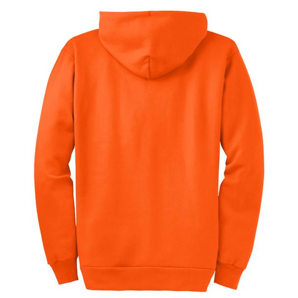 Port and Company Enhanced Visibility Hooded Zip Up Sweatshirt PC90ZH Safety Orange/Back