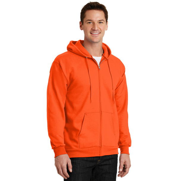 Port and Company Enhanced Visibility Hooded Zip Up Sweatshirt PC90ZH Safety Orange Side