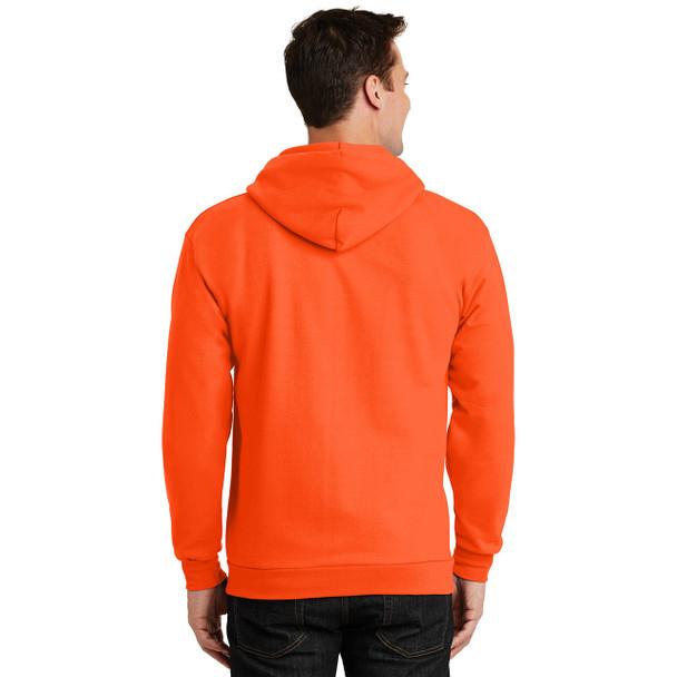Port and Company Enhanced Visibility Hooded Zip Up Sweatshirt PC90ZH Safety Orange Back
