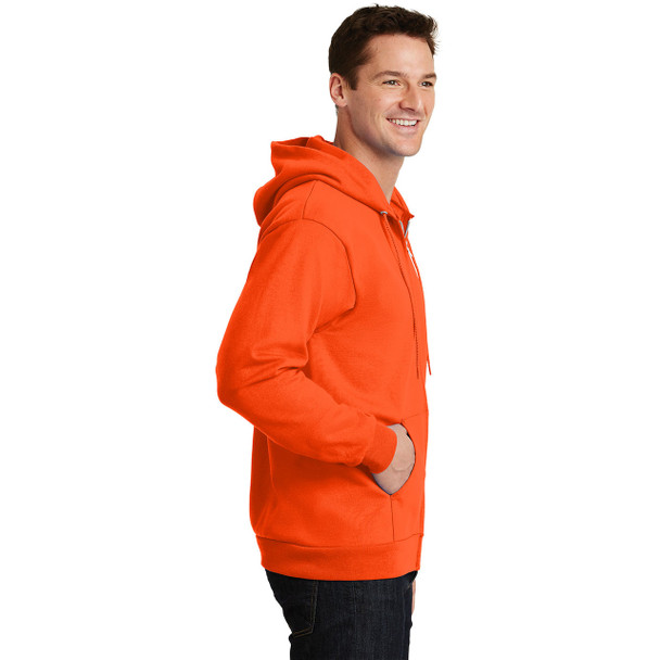 Port and Company Enhanced Visibility Hooded Zip Up Sweatshirt PC90ZH Safety Orange Right Side