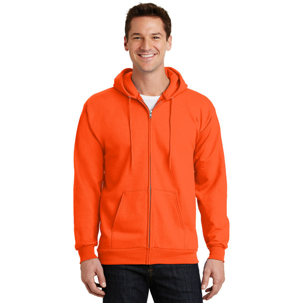 Port and Company Enhanced Visibility Hooded Zip Up Sweatshirt PC90ZH Safety Orange Front