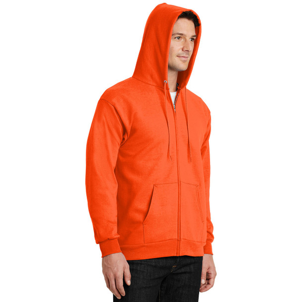 Port and Company Enhanced Visibility Hooded Zip Up Sweatshirt PC90ZH Safety Orange with Hood