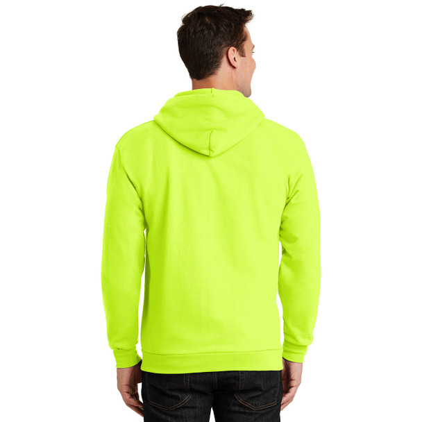 Port and Company Enhanced Visibility Hooded Zip Up Sweatshirt PC90ZH Safety Green Back