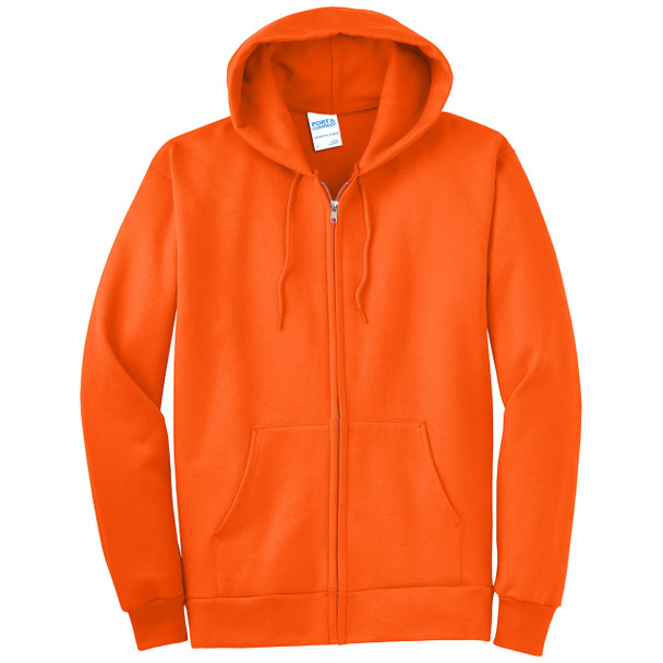 Port and Company Enhanced Visibility Hooded Zip Up Sweatshirt PC90ZH Safety Orange/Front