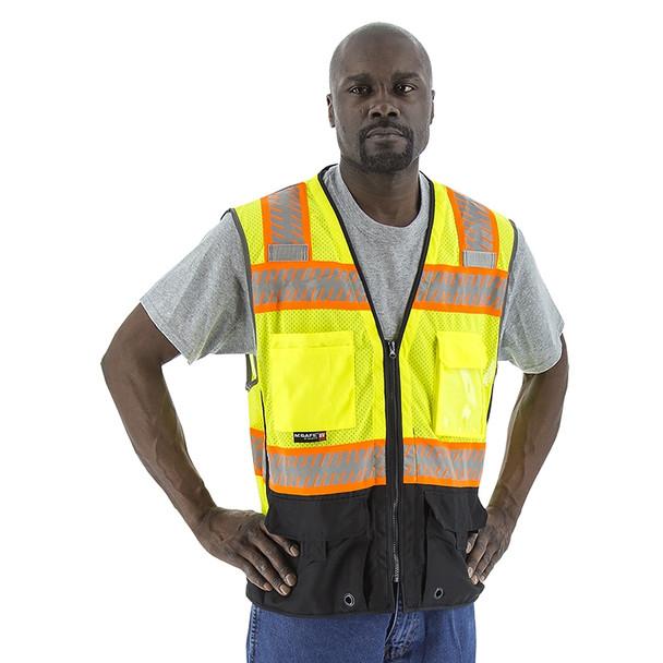 Majestic Class 2 Hi Vis Yellow Black Bottom Mesh Vest DOT Reflective Chainsaw Striping 75-3239