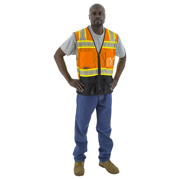 Majestic Class 2 Hi Vis Orange Mesh Vest with DOT Reflective Chainsaw Striping 75-3240