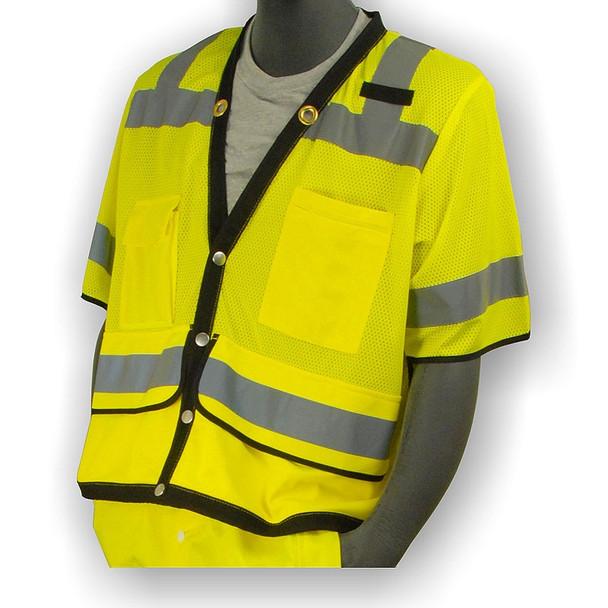 Majestic Class 3 Hi Vis Yellow Heavy Duty Mesh Safety Vest 75-3307