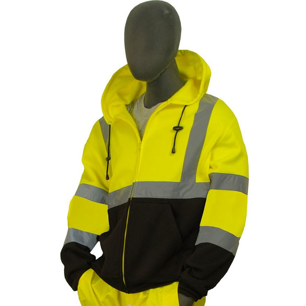 Majestic Class 3 Hi Vis Yellow Black Bottom Zipper Front Sweatshirt 75-5325