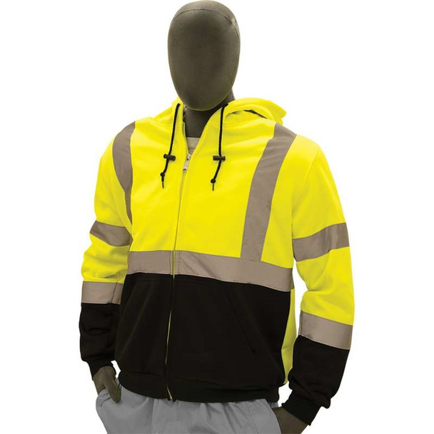 Majestic Class 3 Hi Vis Yellow Hooded Sweatshirt with Teflon Protector 75-5331