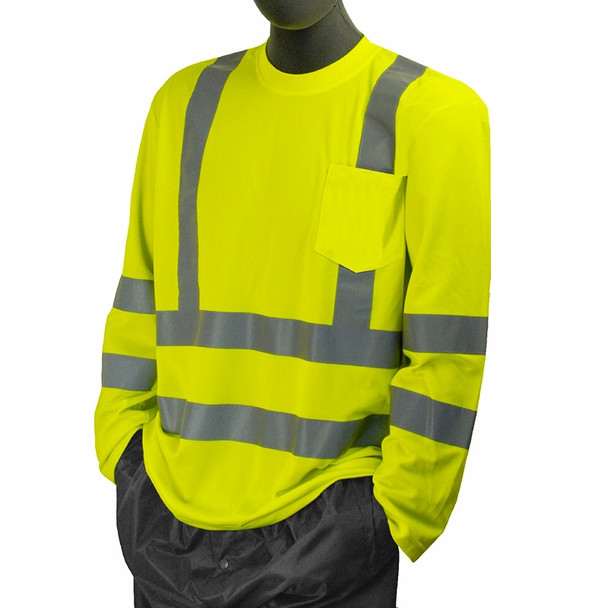 Majestic Class 3 Hi Vis Yellow Long Sleeve T Shirt with Chest Pocket 75-5355
