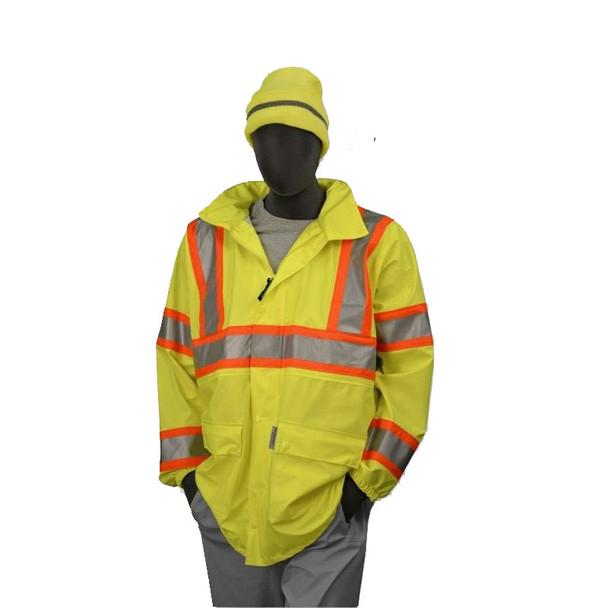 Majestic Class 3 Hi Vis Yellow DOT Rain Jacket 75-7301