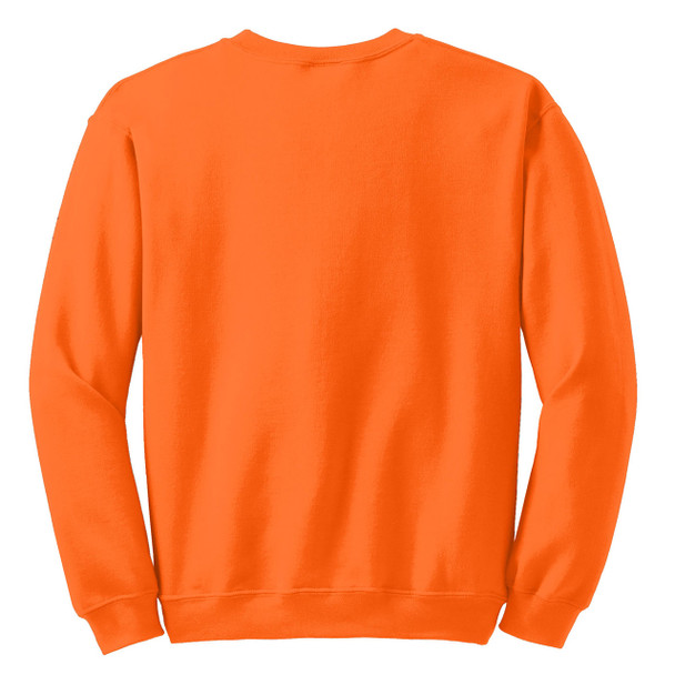 Gildan Enhanced Visibility Heavy Blend Crewneck Sweatshirt 18000 Safety Orange Back
